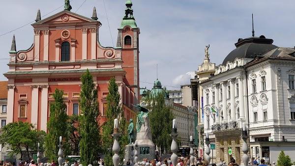 Popular tourist site Prešeren Square in Ljubljana