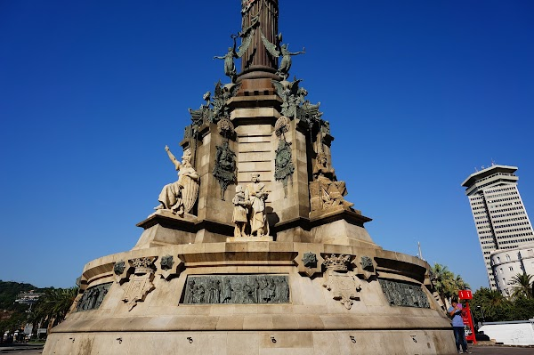Popular tourist site Mirador de Colom in Barcelona
