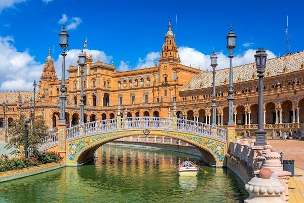 Popular tourist site Plaza de España in Seville