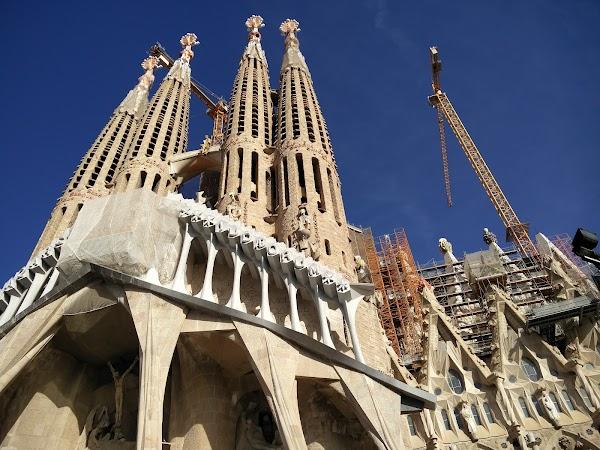 Popular tourist site Plaça de la Sagrada Família in Barcelona