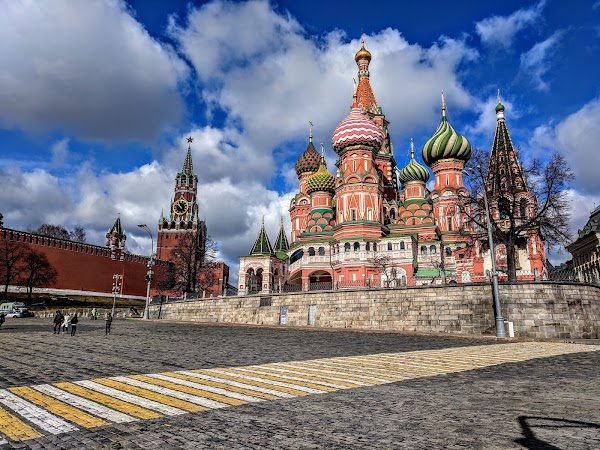 Popular tourist site St. Basil's Cathedral in Moscow