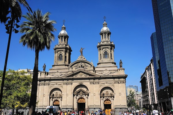 Popular tourist site Plaza de Armas in Santiago