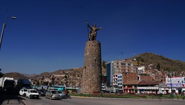 Popular tourist site Monumento Inca Pachacutec in Cusco