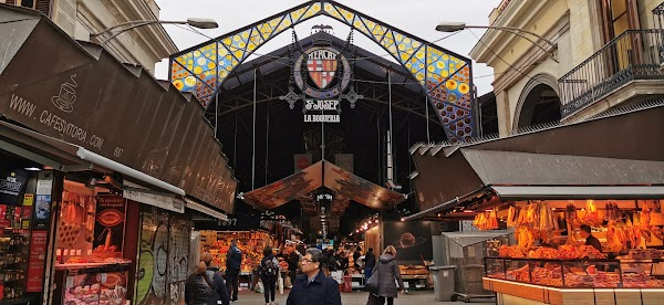 Popular tourist site Mercado de La Boqueria in Barcelona