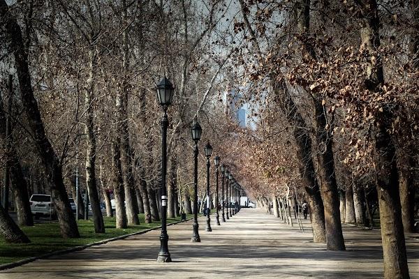 Popular tourist site Parque Forestal in Santiago