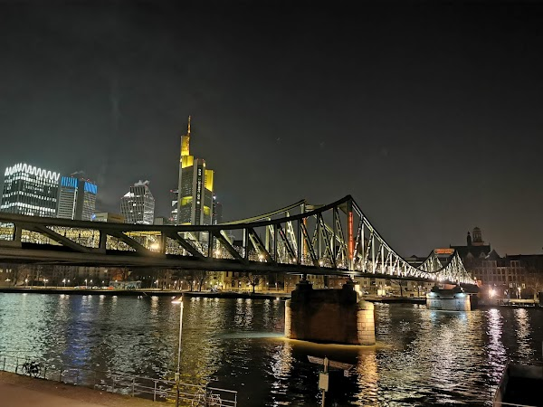 Popular tourist site Iron Bridge in Frankfurt
