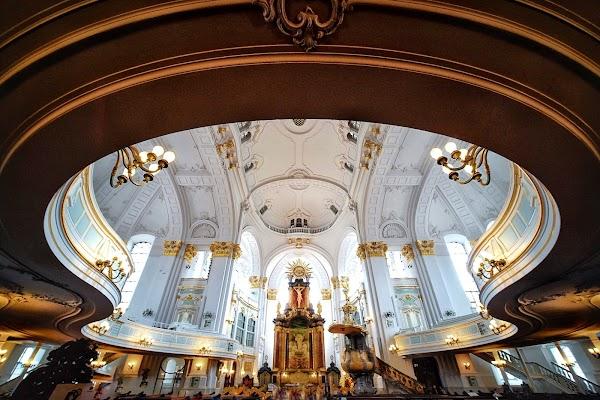 Popular tourist site St. Michael's Church in Hamburg