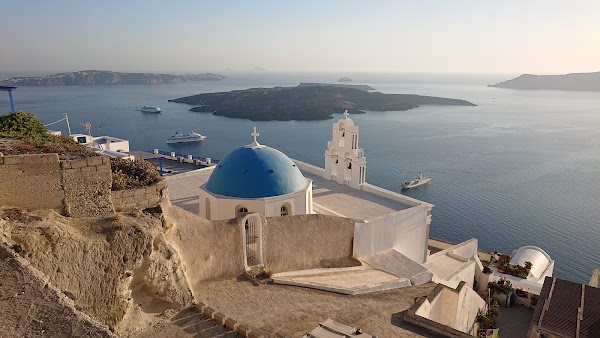 Popular tourist site Virgin Mary Orthodox Church-Three Bells  in Santorini