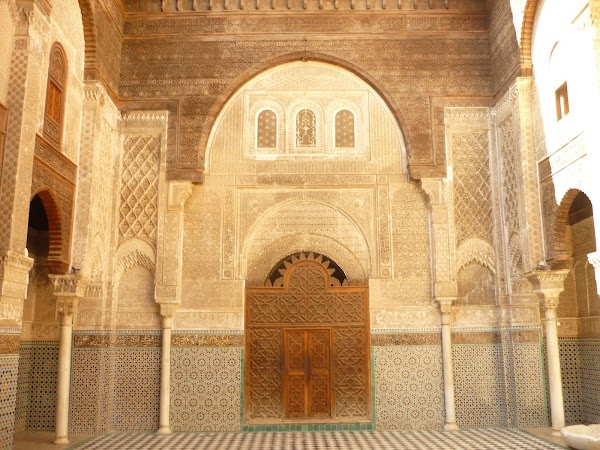 Popular tourist site Al Attarine Madrasa in Fez