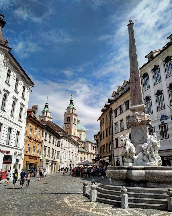 Popular tourist site Robba fountain in Ljubljana