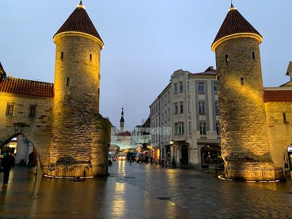 Popular tourist site Viru Gate in Tallinn