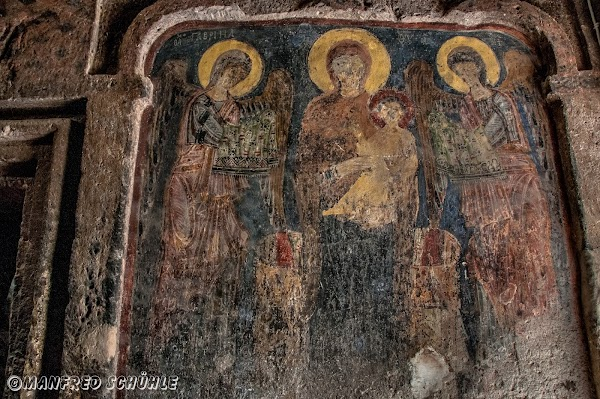 Popular tourist site Gumusler Monastery in Cappadocia