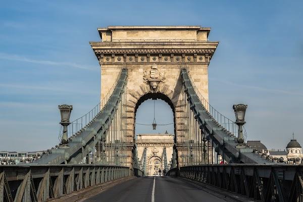 Popular tourist site Széchenyi Chain Bridge in Budapest