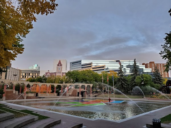 Popular tourist site Olympic Plaza in Calgary