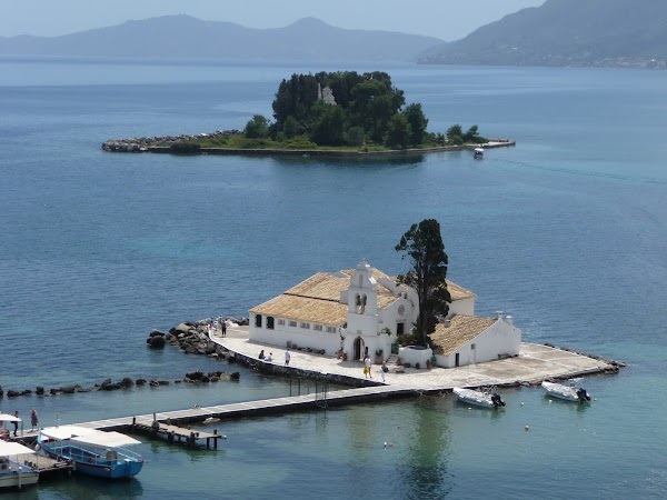 Popular tourist site Vlacherna Monastery in Corfu