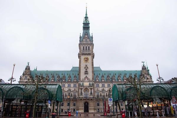 Popular tourist site Townhall in Hamburg