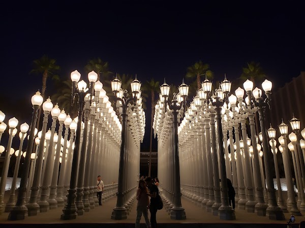 "Popular tourist site Public Art ""Urban Light"" in Los Angeles"
