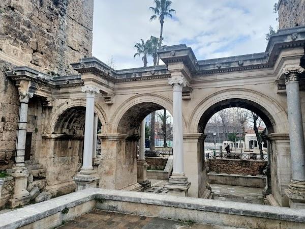 Popular tourist site Hadrian Castle Gate in Antalya