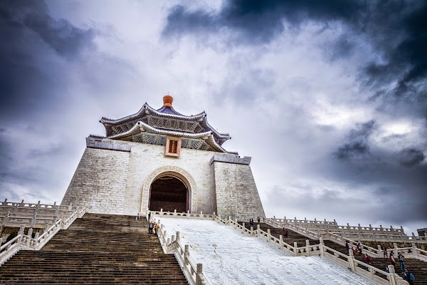 Popular tourist site National Chiang Kai-shek Memorial Hall in Taipei