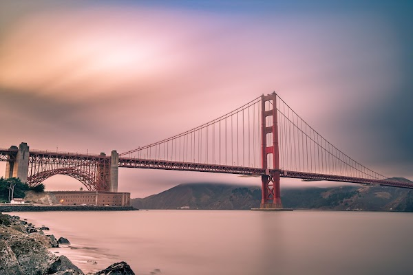Popular tourist site Golden Gate Bridge in San Francisco