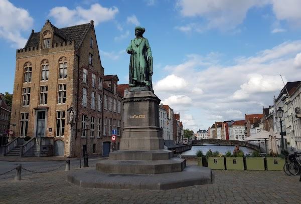 Popular tourist site Jan Van Eyck Square in Bruges