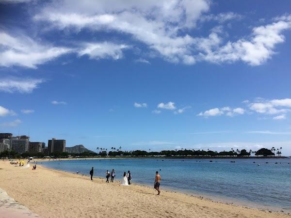 Popular tourist site Ala Moana Regional Park in Honolulu