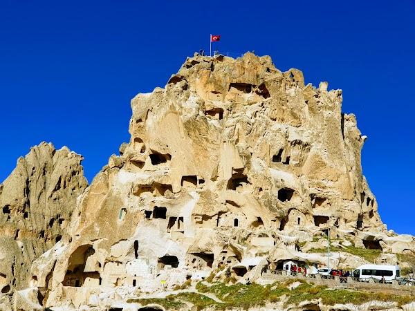 Popular tourist site Uchisar Castle in Cappadocia