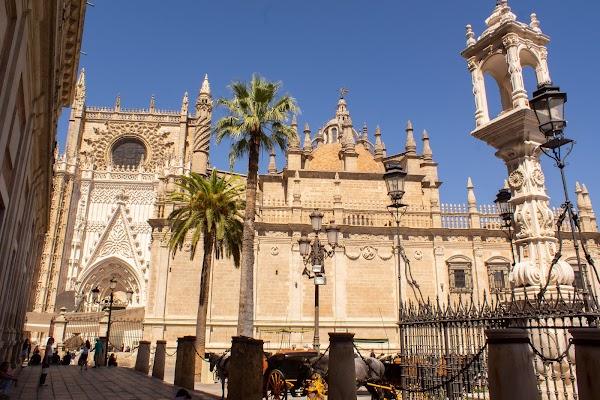 Popular tourist site Plaza del Triunfo in Seville