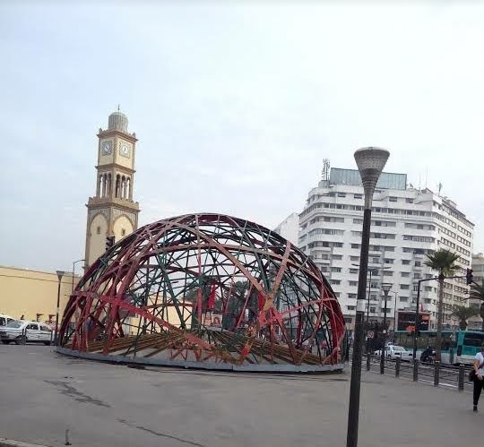 Popular tourist site Place des Nations Unies in Casablanca