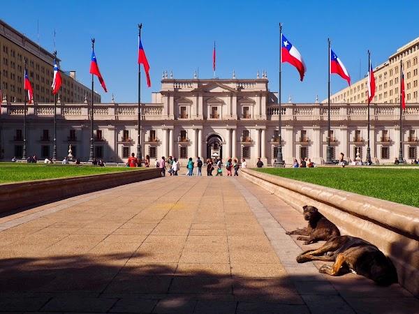 Popular tourist site La Moneda Palace in Santiago