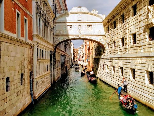 Popular tourist site Bridge of Sighs in Venice
