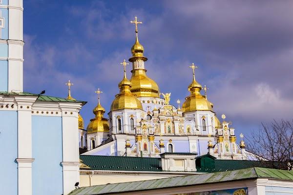 Popular tourist site St. Michael's Golden-Domed Monastery in Kyiv