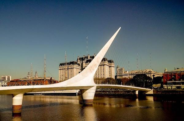 Popular tourist site Puente De La Mujer in Buenos Aires