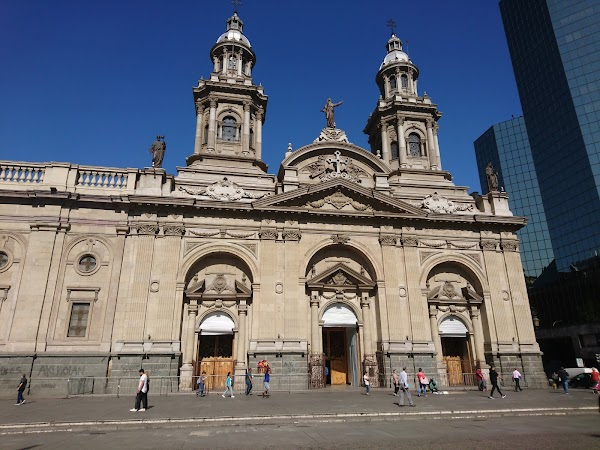 Popular tourist site Santiago Metropolitan Cathedral in Santiago