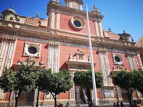 Popular tourist site Iglesia Colegial del Divino Salvador in Seville