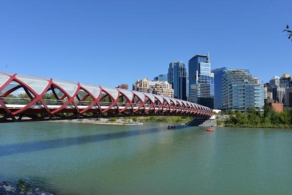 Popular tourist site Peace Bridge in Calgary