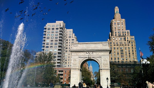 Popular tourist site Washington Square Park in New York