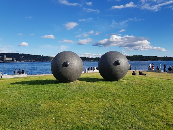 Popular tourist site Tjuvholmen Sculpture Park in Oslo