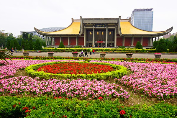 Popular tourist site National Dr. Sun Yat-Sen Memorial Hall in Taipei