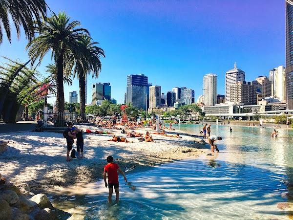 Popular tourist site South Bank Parklands in Brisbane City