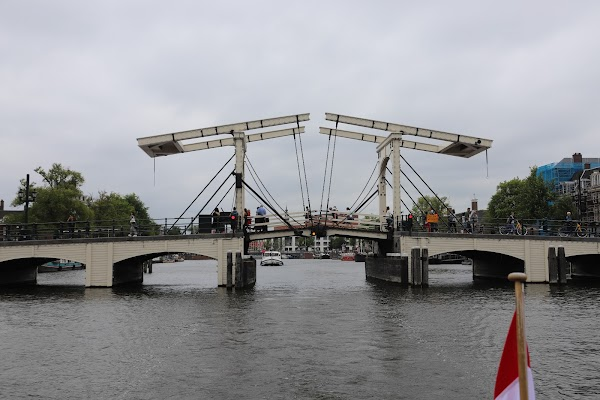 Popular tourist site Skinny Bridge in Amsterdam