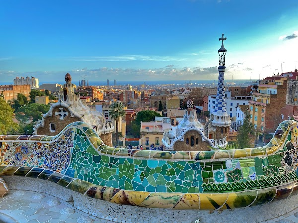 Popular tourist site Park Güell in Barcelona