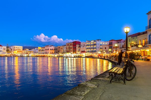 Popular tourist site Old Venetian Harbour. in Chania