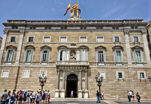 Popular tourist site Plaça de Sant Jaume in Barcelona