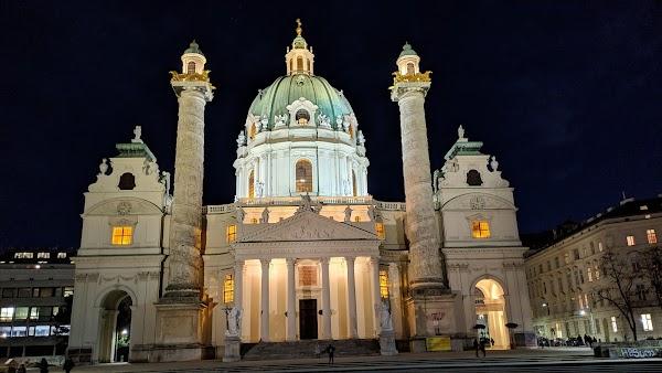 Popular tourist site Karlskirche in Vienna