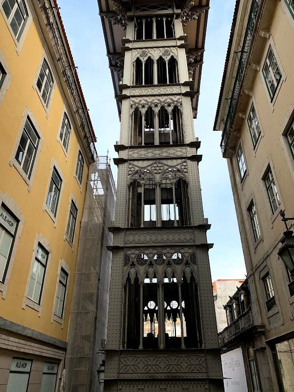 Popular tourist site Santa Justa Lift in Lisbon