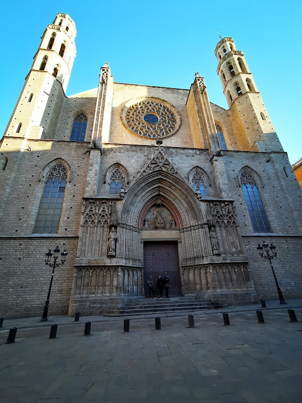 Popular tourist site Basilica of Santa Maria del Mar in Barcelona