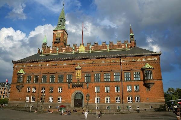 Popular tourist site City Hall Square in Copenhagen