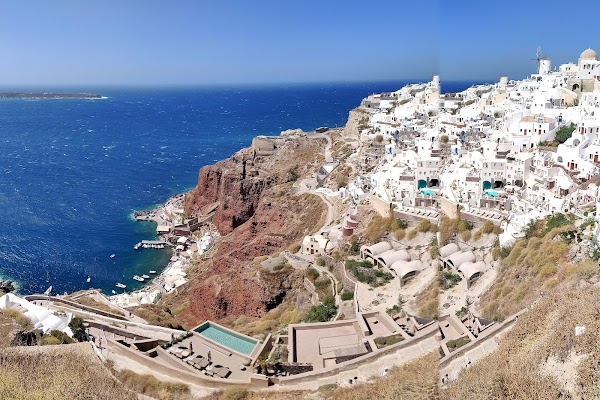 Popular tourist site Byzantine Castle Ruins in Santorini