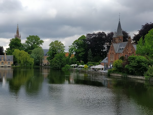 Popular tourist site Minnewaterpark in Bruges